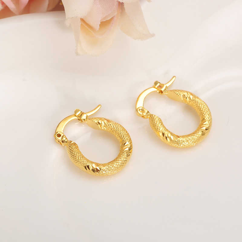 Gold  Girls lovely Round Circles Huggies Hoop Earrings  For Kids Children Aros women girlsboy  jewelry african Christmas gift