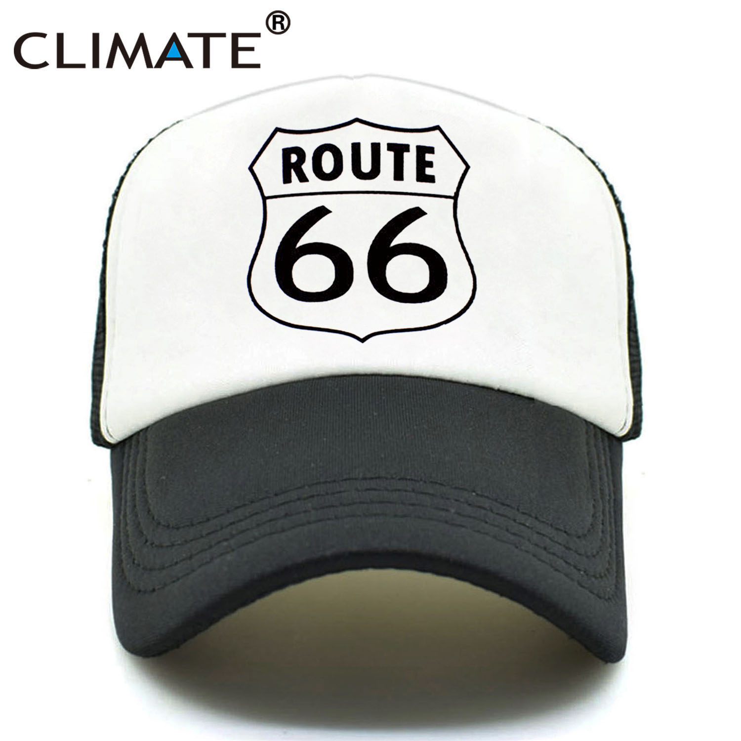 CLIMATE Men Women New Summer Trucker Caps ROUTE 66 Cool Summer Black Adult Cool Baseball Mesh Net Trucker Caps Hat for Men Adult