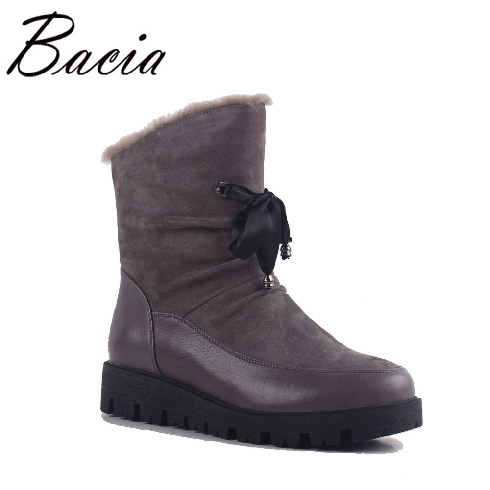 Bacia Sheep Suede Short Boots Dark Grey Warm Wool Fur Winter Leather Female Boots Fashion Lace Cross-Tied Mid-Calf Shoes SA028