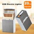 20 шт. Металлический футляр для сигарет  влагозащищенный держатель для сигарет с USB электронной зажигалкой  портативные гаджеты для сигарет ...