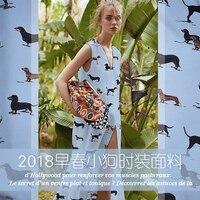 New blue early spring puppy fashion fabric summer shirt dress dress fabric cloth cloth DIY