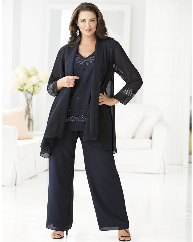 New Arrival Mother of the Bride Long Jacket Elegant Pant Suit Plus Size  Three Pieces Beaded b1a4093ca207