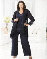 New Arrival Mother of the Bride Long Jacket Elegant Pant Suit Plus Size Three Pieces Beaded Chiffon Pant Suits Wedding