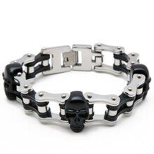 лучшая цена Men Skull biker Bracelet men  Stainless Steel Black Jewelry  Motorcycle Men's Bracelet Punk Bicycle  Bracelet