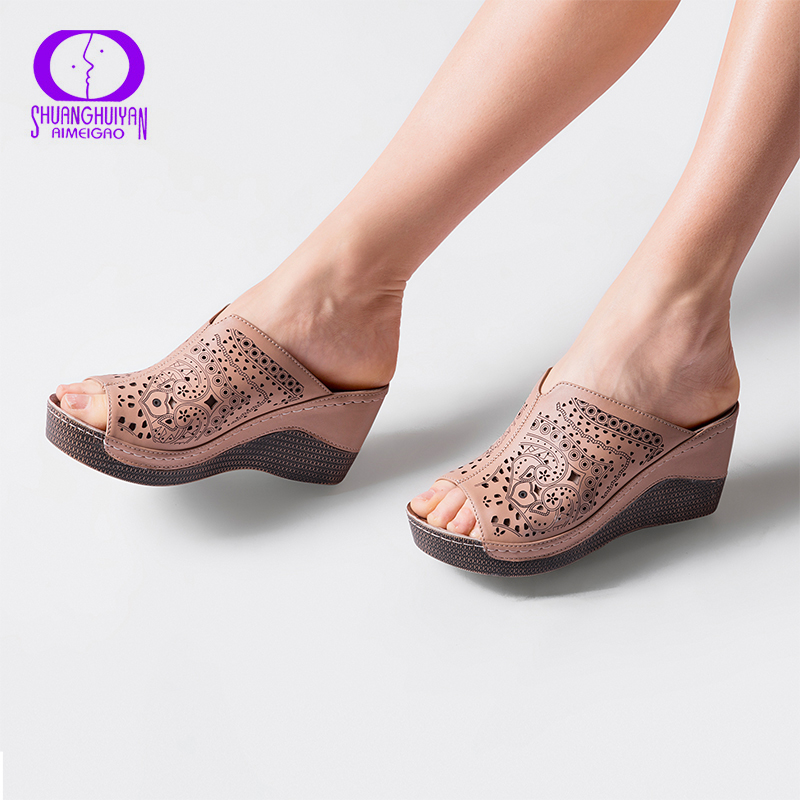 AIMEIGAO Platform Heels Slipper Sandals For Women Soft Leather Comfortable Slippers Open Toe Wedges Heel Summer Ladies Shoes