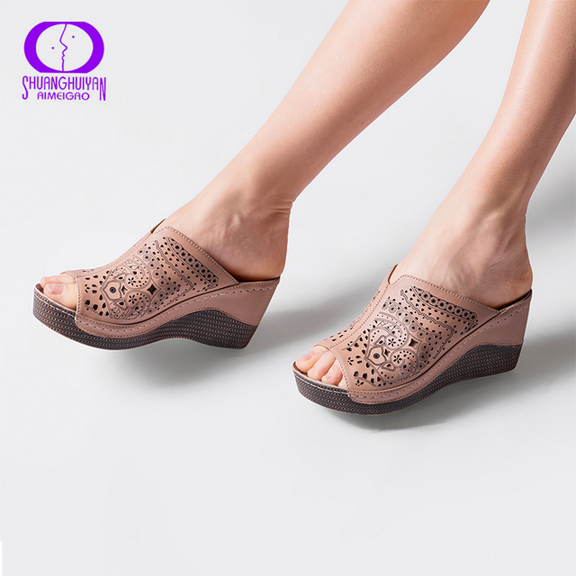 AIMEIGAO Platform Heels Slipper Sandals for Women Soft Leather Comfortable  Slippers Open Toe Wedges Heel Summer