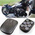 "Black 11""x 7"" Flame Pillion Pad Passenger Seat 8 Suction Cup Fits For Harley Cafe Racer Rectangular Custom"