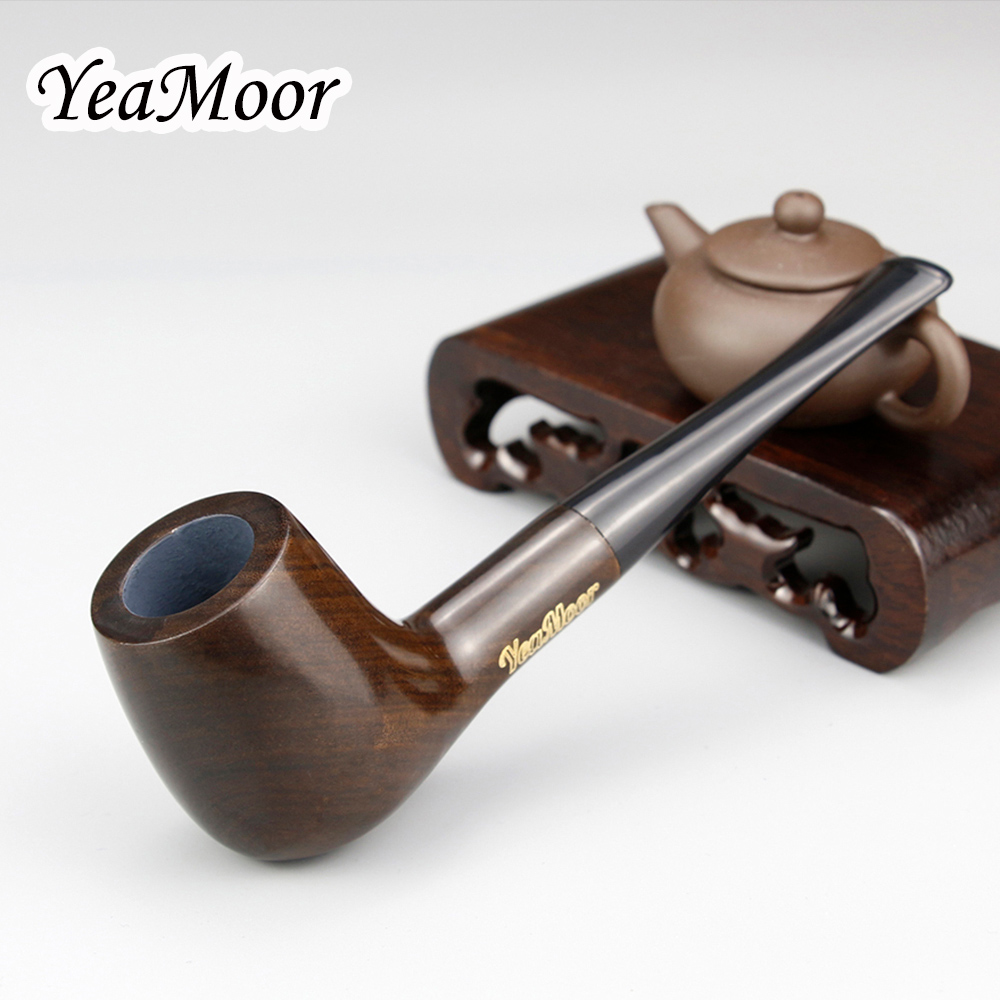 New Straight Wooden Smoking Pipe Tobacco Accessory 9mm Filter Ebony Wood Pipe Handmade Tobacco Pipe Smoke