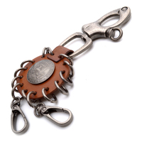 American Egale Brown Leather Unisex Mens Women Key Chain KC3