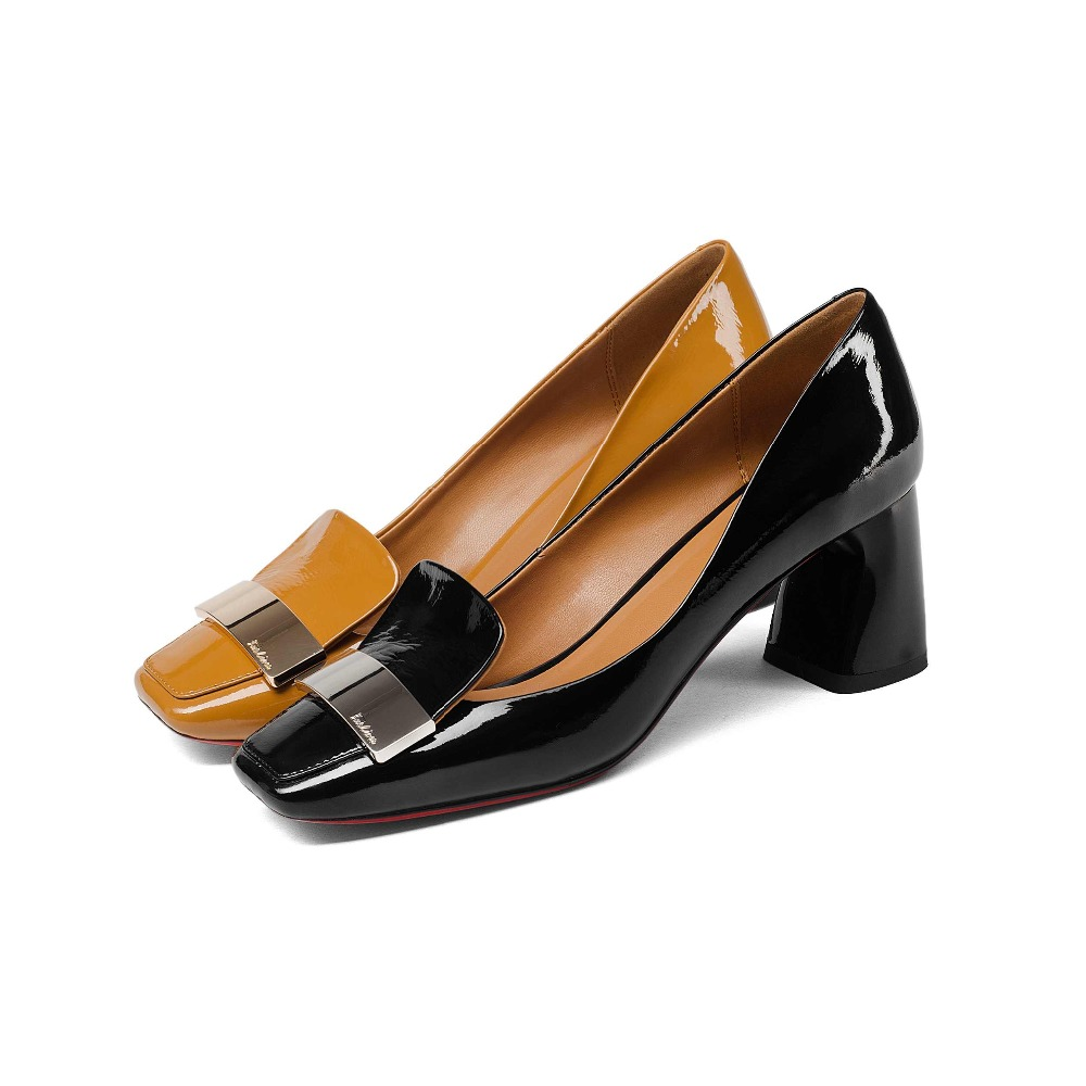 2019 fashion cow leather shallow square heel big size women pumps slip on elegant wedding office lady party metal sexy shoes L49-in Women's Pumps from Shoes    2