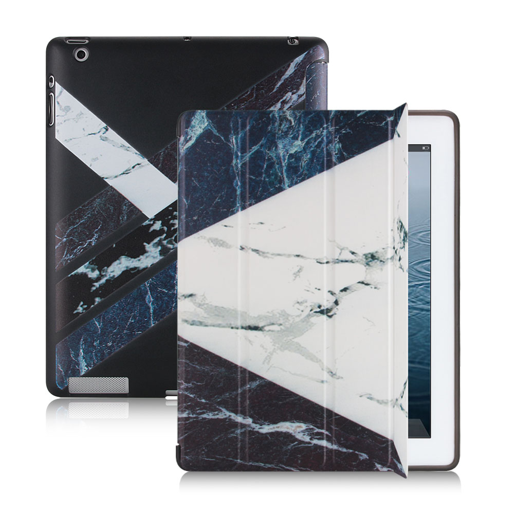 For iPad 2 Case,Redlai Marble Pattern Tri-fold Stand Flip Case Smart Case For iPad 3 Soft TPU Back Soft Cover For iPad 4 Case soft tpu tablet back case for ipad air 1 2 silicone transparent cover for ipad mini 1 2 3 for ipad2 3 4 crystal protective case
