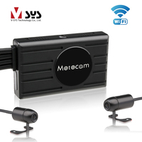 SYS VSYS M2F 3.0'' LCD Motorcycle DVR WiFi FHD Dual 1080P Front & Rear View Waterproof Motorcycle Camera Dash Cam Black Lens Box