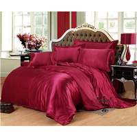 Pure color, four piece set of simulated silk, bedspread, tribute satin foreign trade bedding Simulated silk XHS0035