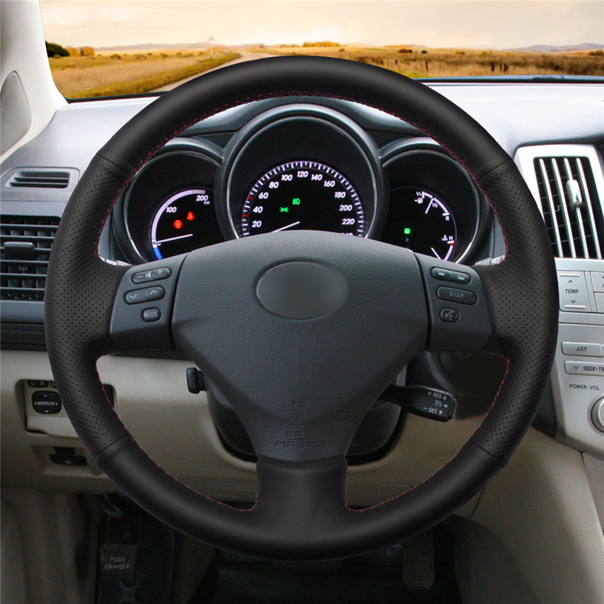 Black Genuine Leather Car Steering Wheel Cover For Lexus Rx330 Rx400h Rx400 2004 2007 Toyota Corolla Verso 2006 Camry In Covers From