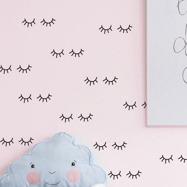 free ship 24pcs removable Sleepy Eyes eyelash Baby Nursery WALL stickers bedroom decor