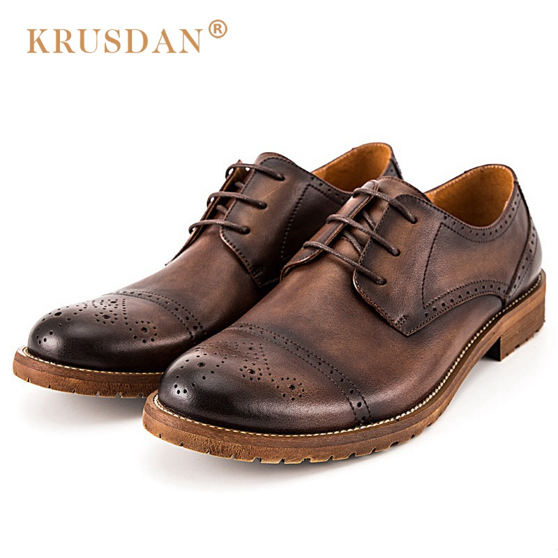 KRUSDAN British Style Semi Brogue Man Formal Dress Shoes Genuine Leather Male Handmade Oxfords Round Toe Men's Bridal Flats