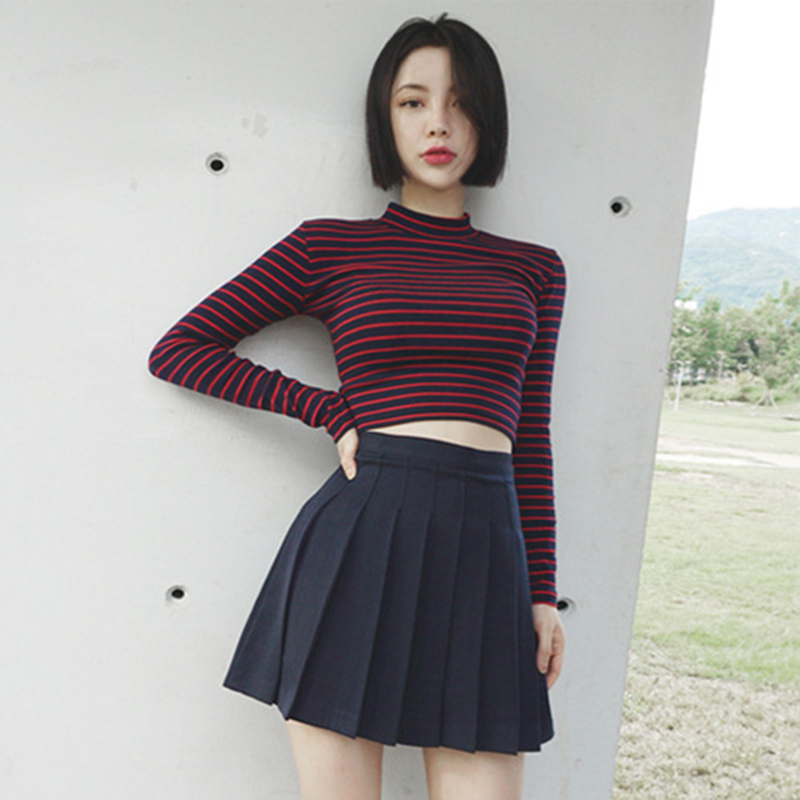 Red Blue Striped Sexy Korean Fashion Tunic Women T Shirt Turtleneck Long Sleeve Short Tee Harajuku 2019 New Summer Slim Crop Top