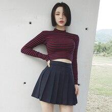 red Blue Striped sexy korean fashion tunic women t shirt turtleneck long sleeve short tee harajuku 2019 New summer slim Crop top long sleeve t shirt tunic shift striped dress