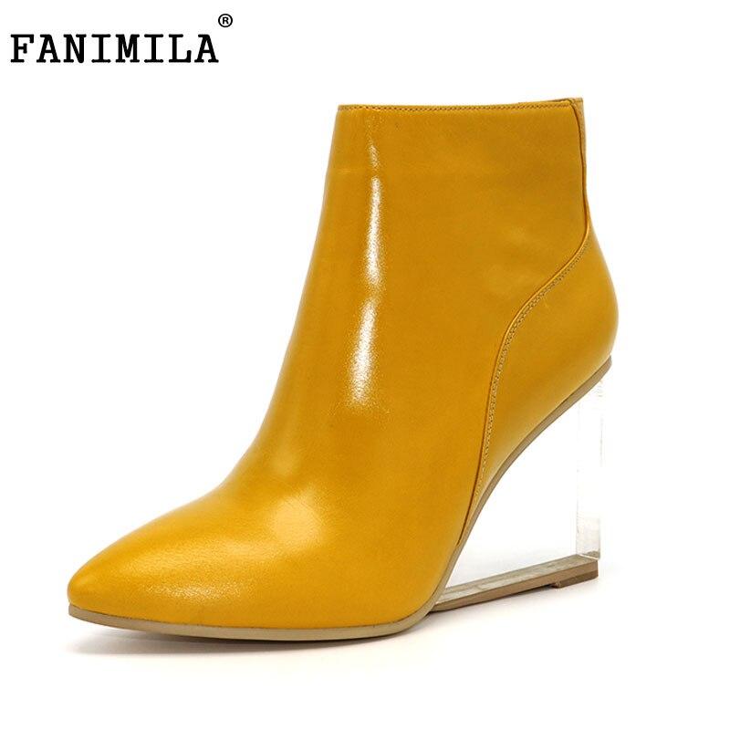 Fanimila женская обувь прозрачные Ботильоны на высокой танкетке Туфли на высоком каблуке с острым носком зимние черные сапоги женская обувь ра...