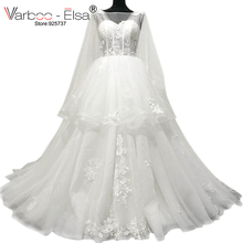 VARBOO_ELSA 2018 White Sleeve Court Train Wedding Dress
