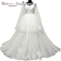 VARBOO_ELSA 2018 White Lace Wedding Dress Embroidery Appliques Shawl Sleeve Bridal Gown robe de mariee Court Train Wedding Dress