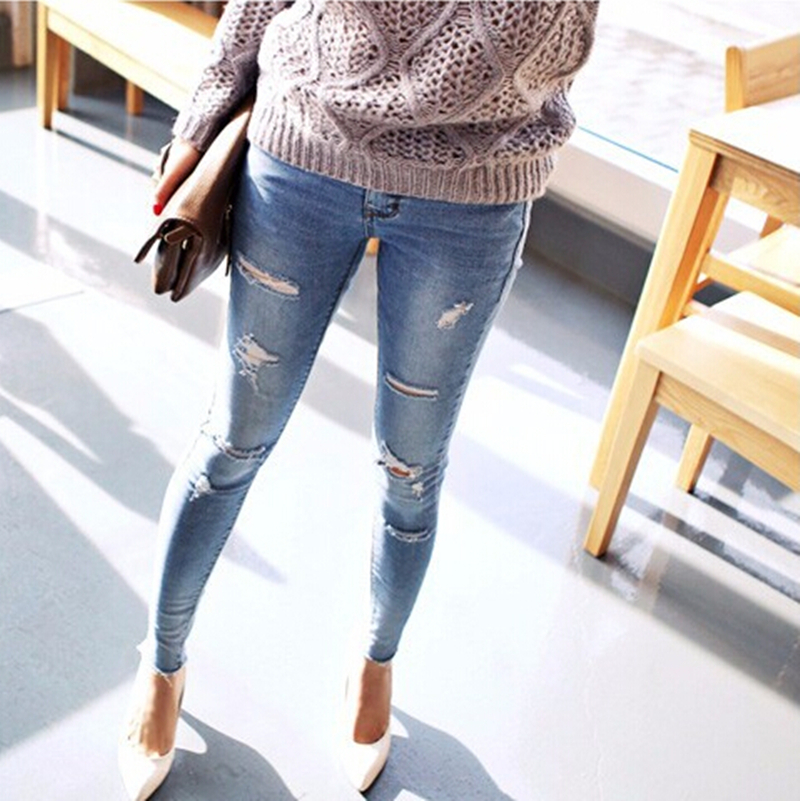 Aliexpress.com : Buy Trousers for women 2016 Blue Wash Skinny Hole ...