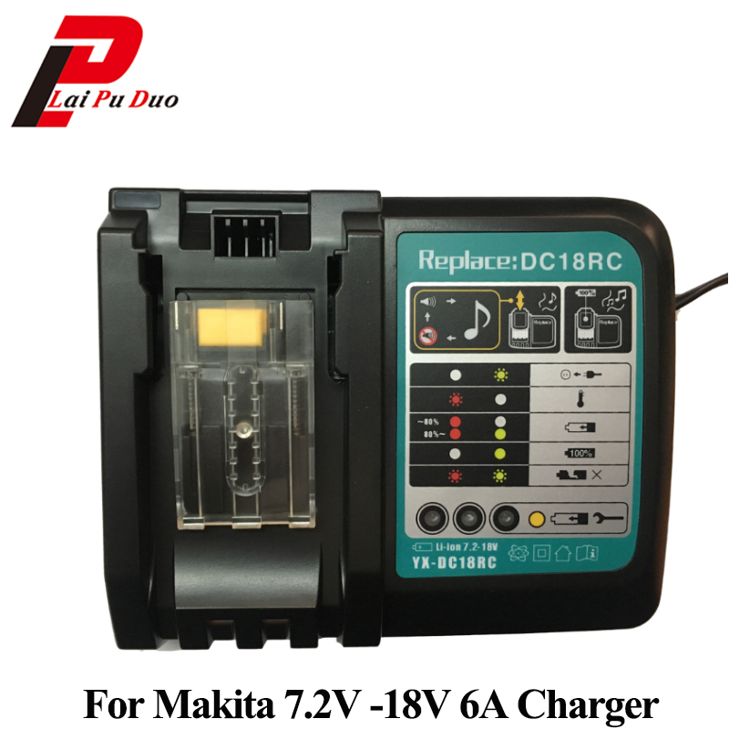Replacement Power Tool Battery Charger For Makita DC18RA BL1830 MT7218 Max DC 6A For Lithuim ion