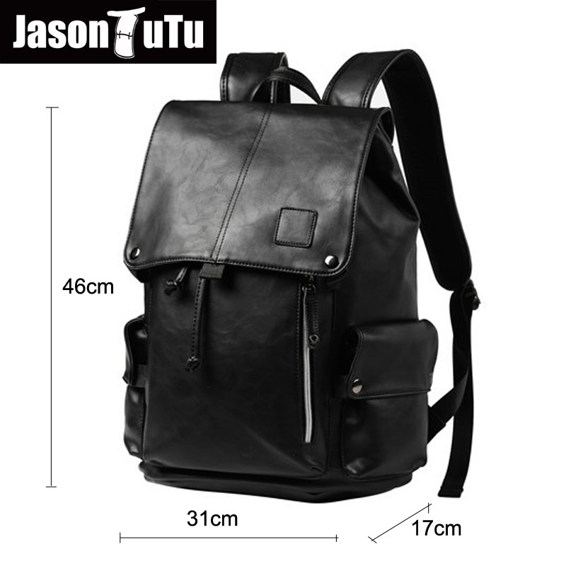 ca29e3e2c9 JASON TUTU Men s Anti theft drawstring laptop backpack male purse good  quality PU Leather Black Backpack bag pack rugzak B454-in Backpacks from  Luggage ...