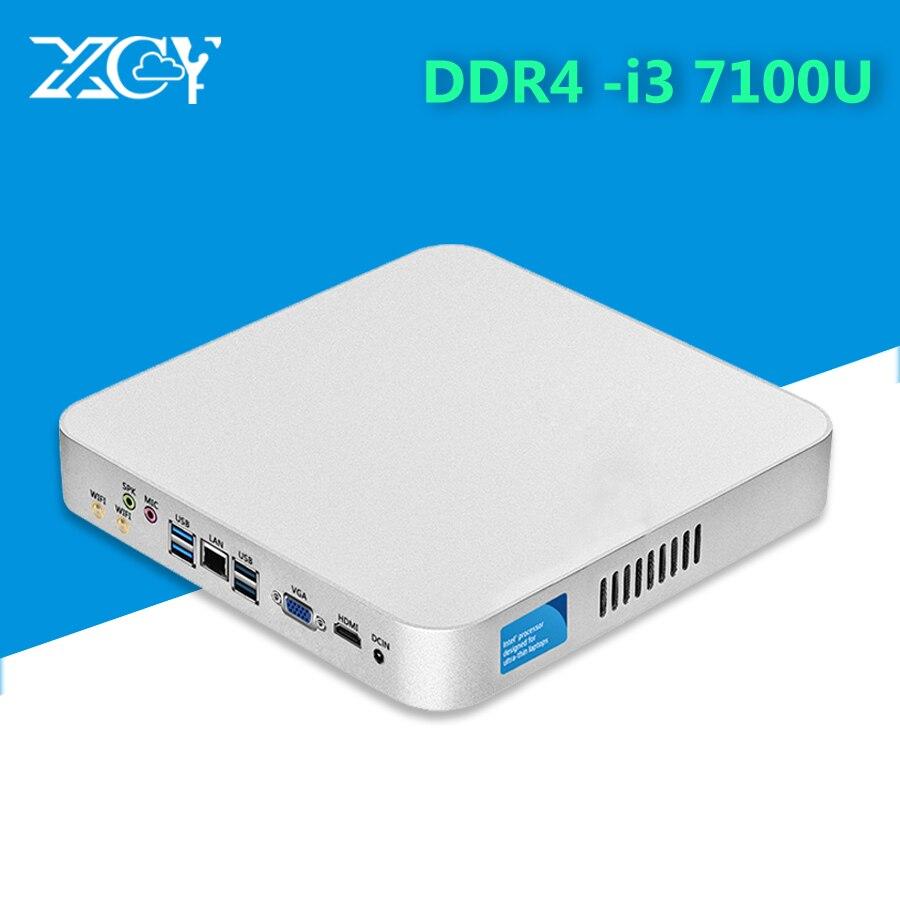 XCY DDR4 Core i3 7100U Mini PC 16 GB RAM 4 K HD graphiques 620 Windows 10 Wifi Hdmi Kaby Lake Mini ordinateur de bureau PC de jeu
