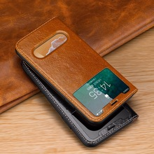 Genuine Leather Phone Case For Iphone6sp 8plus xs xr 7plus Kickstand Display Windows Original Flip Luxury Cover Xsmax