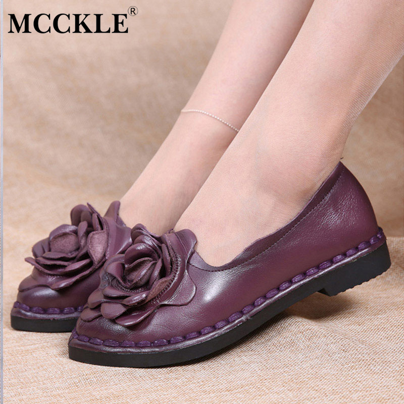 MCCKLE 2017 Fashion Women Shoes Flat Woman Round Toe Flowers Ladies Black Loafers Hot Sale Casual Comfortable Spring&Autumn цена 2016
