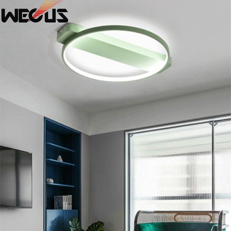 Nordic round macaroon ceiling lamp creative modern concise iron art acrylic lighting livingroom bedroom study ceiling lamp