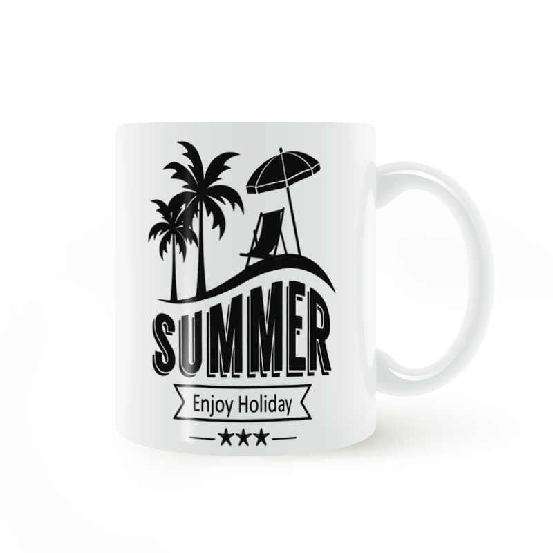 Summer Beach Tropical Island Mug Coffee Milk Ceramic Cup Creative DIY Gifts Home Decor Mugs 11oz T1485
