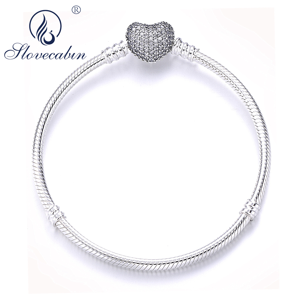 Slovecabin Authentic 925 Sterling Silver Moments Bracelet With Pave Heart Clasp Snake Chain Charms Bracelet For Europe DIY Beads slovecabin europe classic 925 sterling silver snake charm necklace with clasp for men 2017 popular silver snake chain necklace