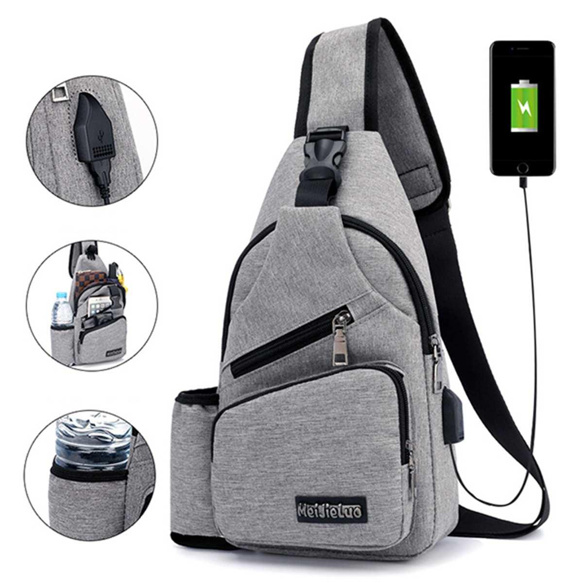 Large Capacity Chest Bag Casual Crossbody Bag Mens Travel USB Charging Anti Theft Chest Packs Sling Messenger Shoulder Bag