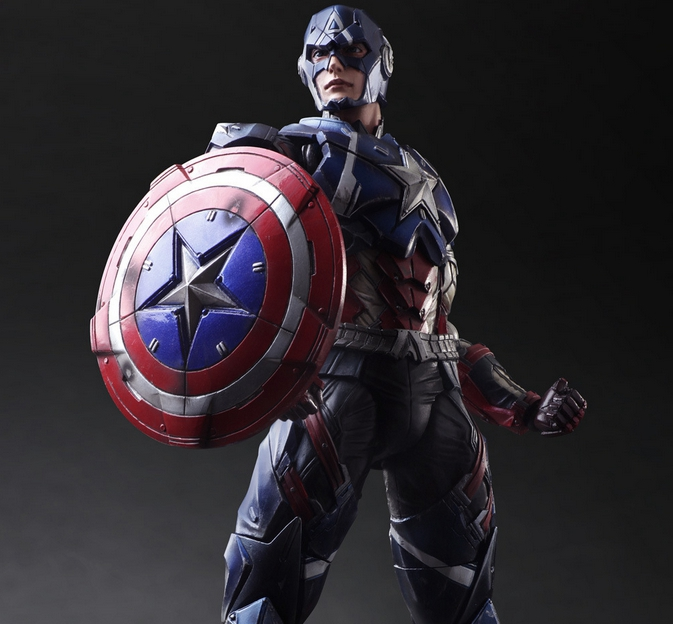 Play Arts Kai Captain America Super Hero Hero Steve Rogers PA 27cm PVC Action Figure Doll Toys Kids Gift Brinquedos