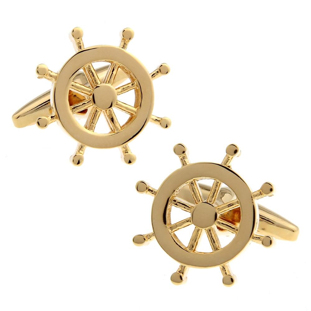 Logo ship transportation direction wheel steering design plain coloured metal plating gold cufflinks for men 163928