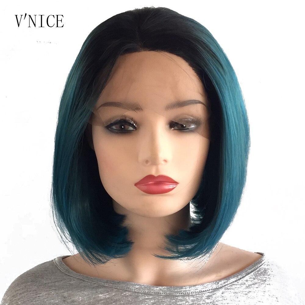 Short Bob Black Roots Ombre Dark Blue Green 2Tone Wig High Temperature Fiber Blue Mixed with