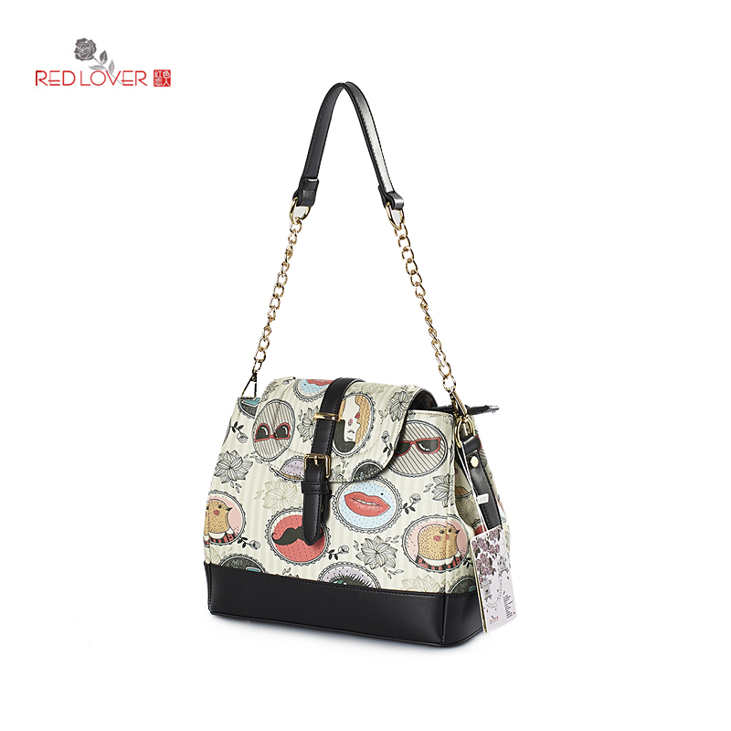 ФОТО Red Lover Fashion lady shoulder bag single belt messenger bag Korea style Totes Teenagers bag Flap Buckle Preppy style