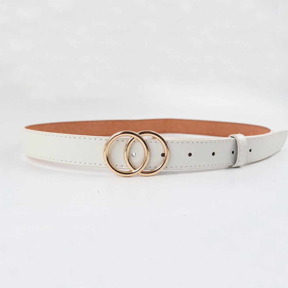 Soft Faux Leather Double Ring Belt Buckle for women 14