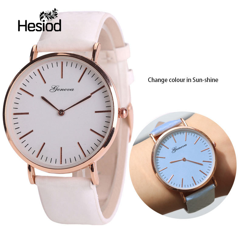 Hesiod Simple Design PU Leather Dress Watch Lady Casual Leather Watch Temperature Change Color In The Sun Fashion Couple Watch