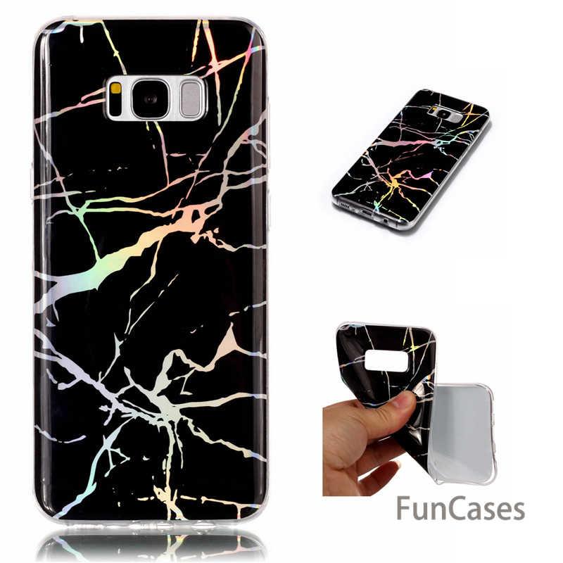 Marmer Laser Phone Case untuk Samsung Galaxy S8 S9 Plus Fashion Dicat Silikon Soft Cover UNTUK Samsung S7 S6 Edge s8 PLUS
