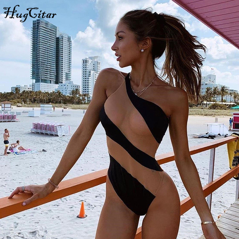 Hugcitar Mesh Patchwork Sexy Bodysuit 2019 Summer Women Slim Holiday Swimwear Club Body Outfits