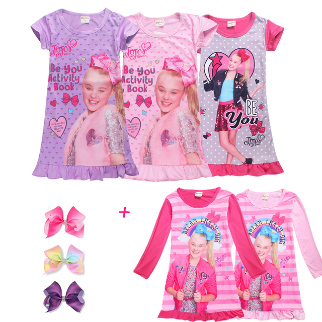 Promo Code 719d1 B7adf Jojo Siwa Short Long Sleeve Silk Dresses For Girls Princess Birthday Party