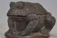 3.6 Marked Chinese folk fengshui bronze Frog Toad incense burner Censer statue