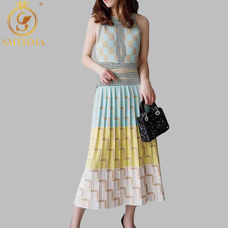 2019 New High Quality Summer sleeveless geometry Knitted Dress Women Slim Holiday Dresses Vestidos