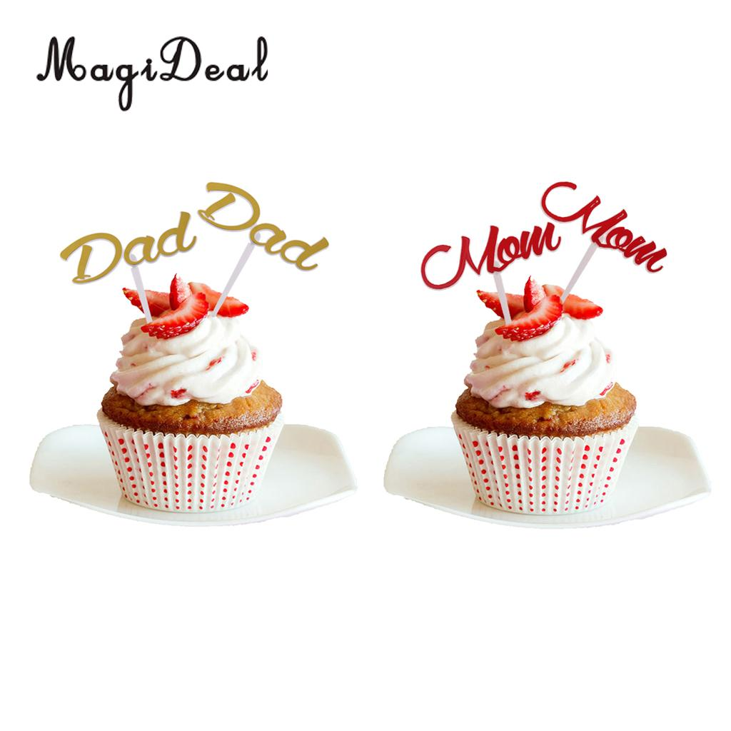Magideal 12x Happy Birthday Dad Cake Topper Fathers Day Festival