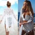 2016 Mujeres Atractivas Del Verano Encajes de Ganchillo Borla traje de Baño Playa DEL MAR outweare Up