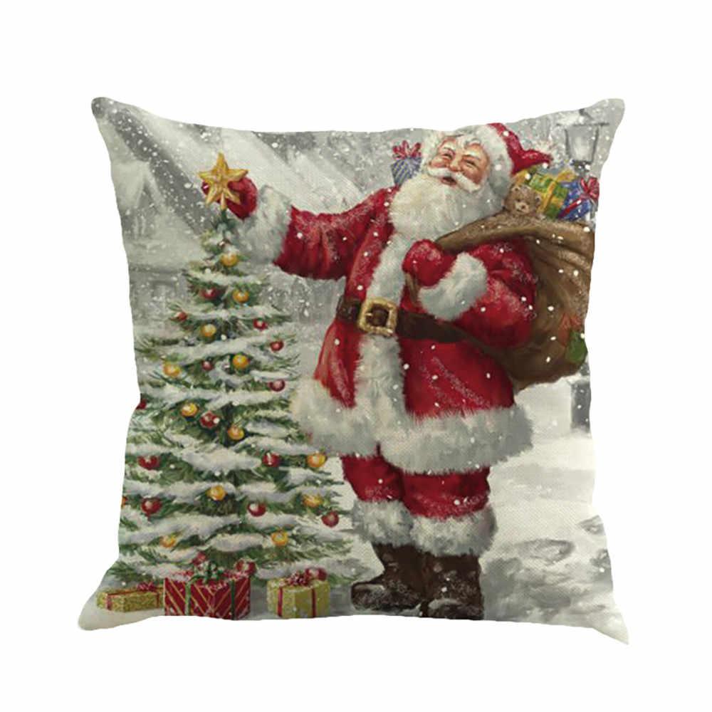 Natal Bantal Santa Claus Gambar Pencelupan Sarung Bantal Sofa Cover Fundas Cojines Decorativos Dropship N0822