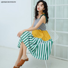 Fresh Preppy Style Cute Frill Spaghetti Straps Plaid Patchwork Striped Dress Women Bohemian Beach Sleeveless Sundress
